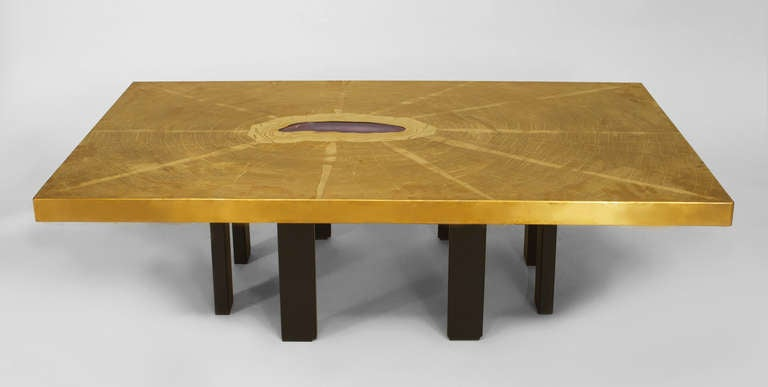 Agate and Etched Bronze Table by Georges Mathias 2
