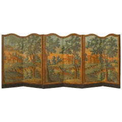 18th Century French Provincial Painted Folding Screen / Room Divider
