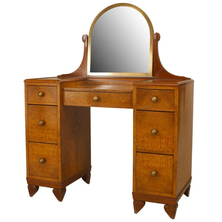 French Art Deco Amboyna Wood Dressing Table 1