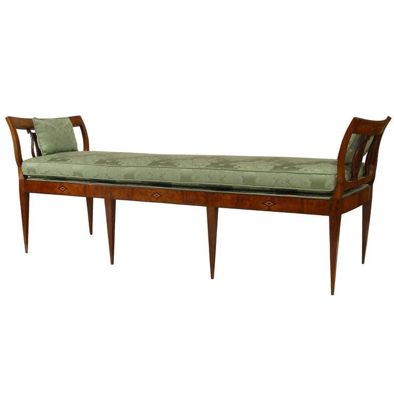 Biedermeier Upholstered Lyre Design Bench