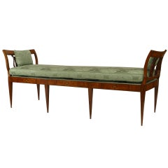 Biedermeier Upholstered Lyre Design Bench