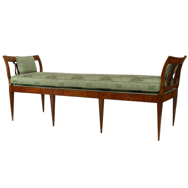 German Biedermeier Walnut and Green Upholstered Bench For Sale
