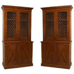 Pair of Georgian Mahogany and Brass Bookcases