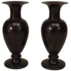 Pair of Swedish 19th c. Fossilized Marble Urns