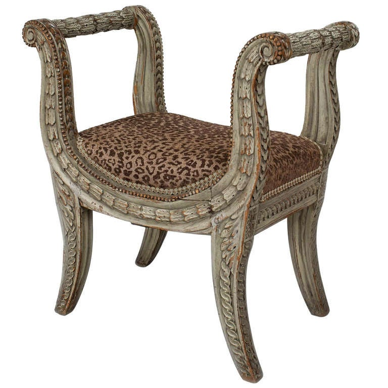 18th C Louis Xvi Carved Bench With Leopard Upholstery For Sale At 1stdibs