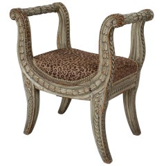 Louis XVI Carved Wooden Bench with Leopard Upholstery