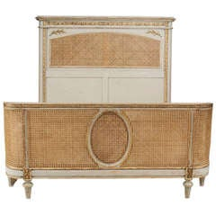 19th C. Louis XVI Style Grey-Painted and Parcel Gilt Cane Bed