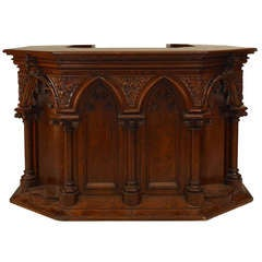 Gothic Revival Carved Oak Pulpit or Bar