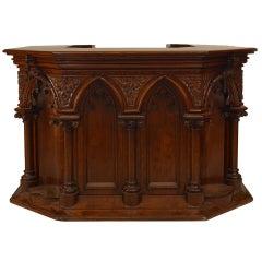 Gothic Revival Carved Oak Pulpit or Bar