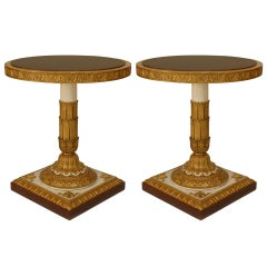 Pair of Italian Neoclassic Circular Gilt Carved End Tables