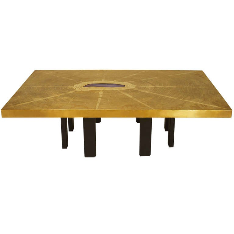 Agate and Etched Bronze Table by Georges Mathias 1