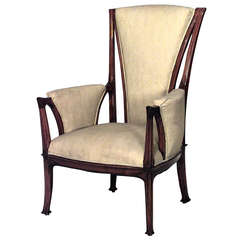 French Art Nouveau Walnut High Back Bergere