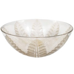 R. Lalique Signed Crystal Art Deco Bowl
