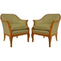 Pair of  Upholstered Maple Biedermeier Bergeres