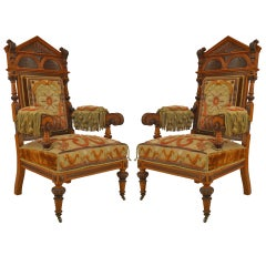 Pair of 19th c. Russian Steeple Form Oak Armchairs