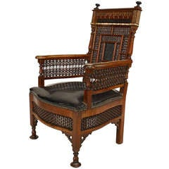 Moorish Style Mother of Pearl Inlaid and Leather Upholstered Armchair