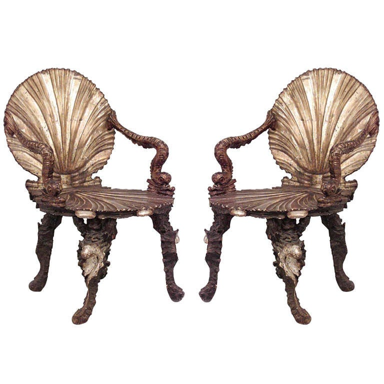Pair of Important 19th c. Venetian Grotto Armchairs