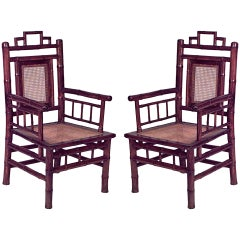 Pair of Geometric Spindle-Design Bamboo Armchairs