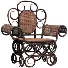 Unusual 19th c. Austrian Bentwood Armchair