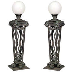 Pair of English Regency Style Bronze Torchieres