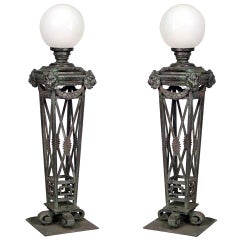 Pair of English Recency Style Outdoor Patinated Bronze Torchieres