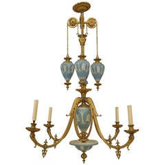 19th C. English Bronze And Wedgwood Chandelier