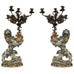 A Grand Pair of 19th c. French Lion Form Candelabra by Emile Galle