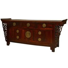 18th Century Chinese Hongmu Filigree Sideboard