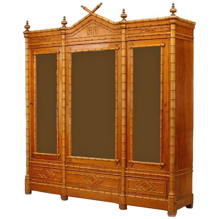19th c. American Faux Bamboo Display Cabinet