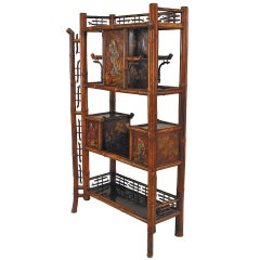 Lacquer Decorated 19th c. Bamboo and Rosewood Etagere