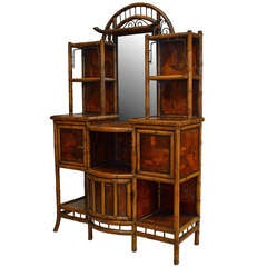 English 19th Century Laquered and Mirrored-Back Bamboo Etagere