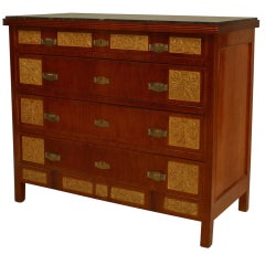 English Aesthetic Movement Gilt Carved Mahogany Chest