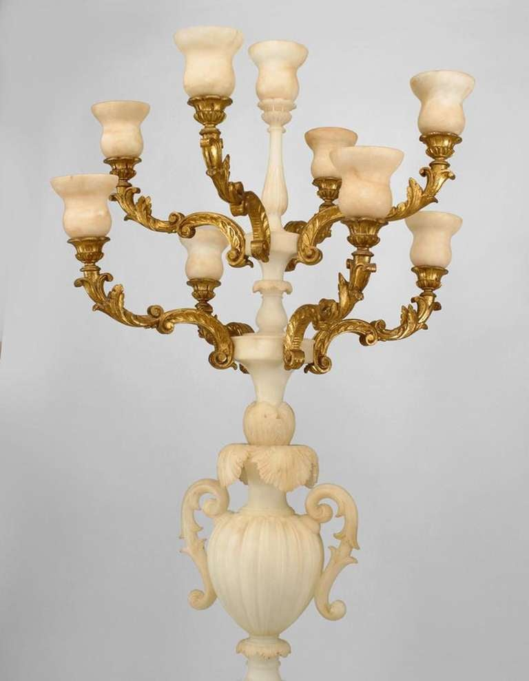Pair of Monumental Italian Gilt Wood and Alabaster Torchieres 4