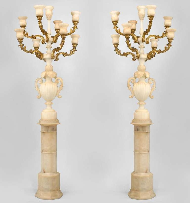 Pair of Monumental Italian Gilt Wood and Alabaster Torchieres 2