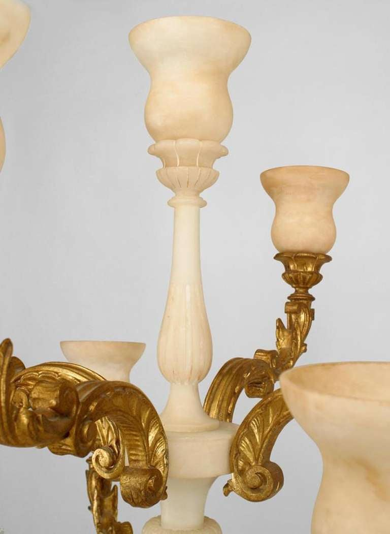 Pair of Monumental Italian Gilt Wood and Alabaster Torchieres 9
