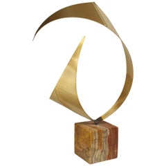 American Mid-Century Modern Abstract Brass and Onyx Sculpture
