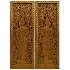 Pair of Turn of the Century Thai Carved and Painted Doors
