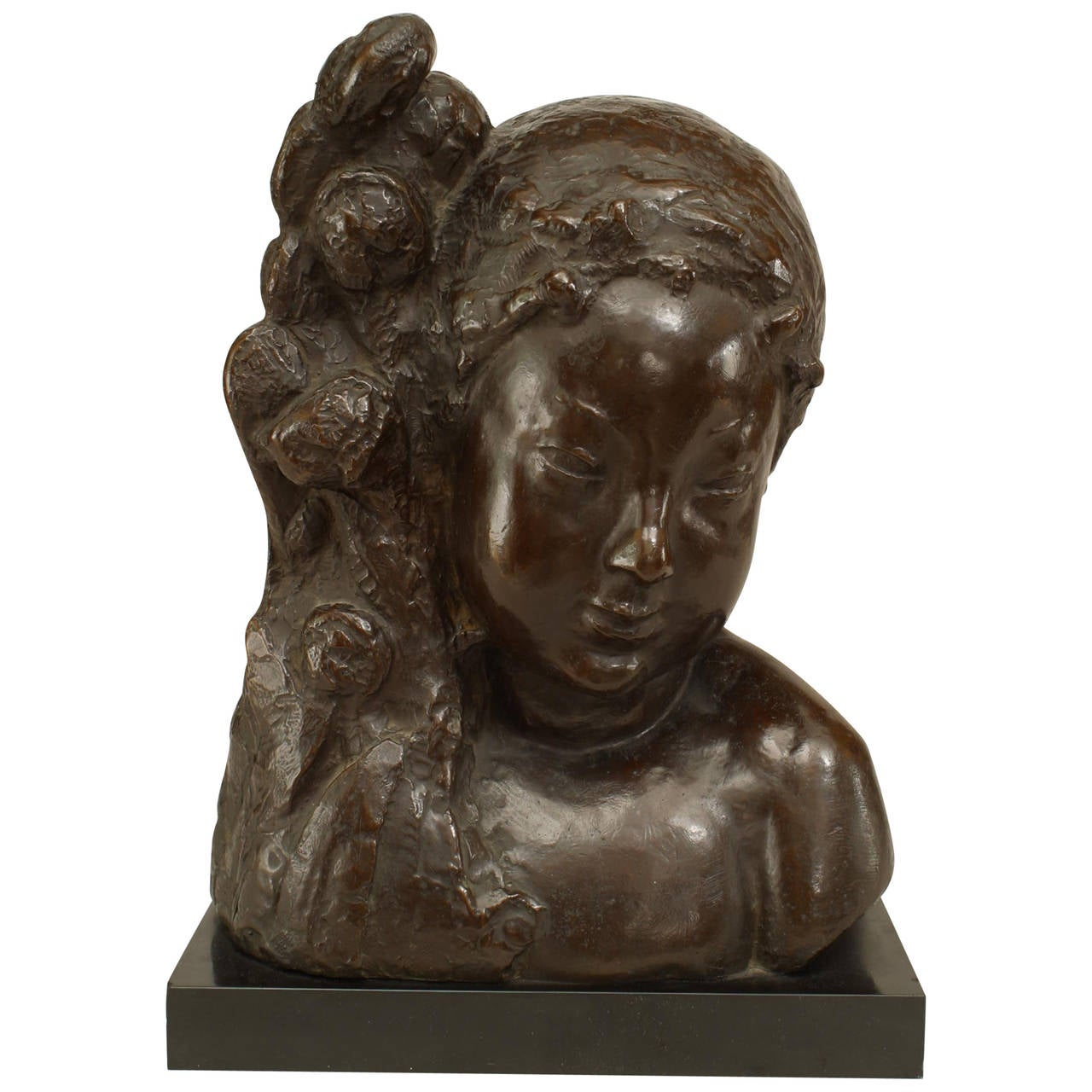 """French Art Deco Bronze Bust Signed """"NY"""" and Founded by Jacques Lamy"""