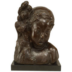 "French Art Deco Bronze Bust Signed ""NY"" and Founded by Jacques Lamy"