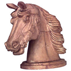 English Country Stripped Pine Horse Head