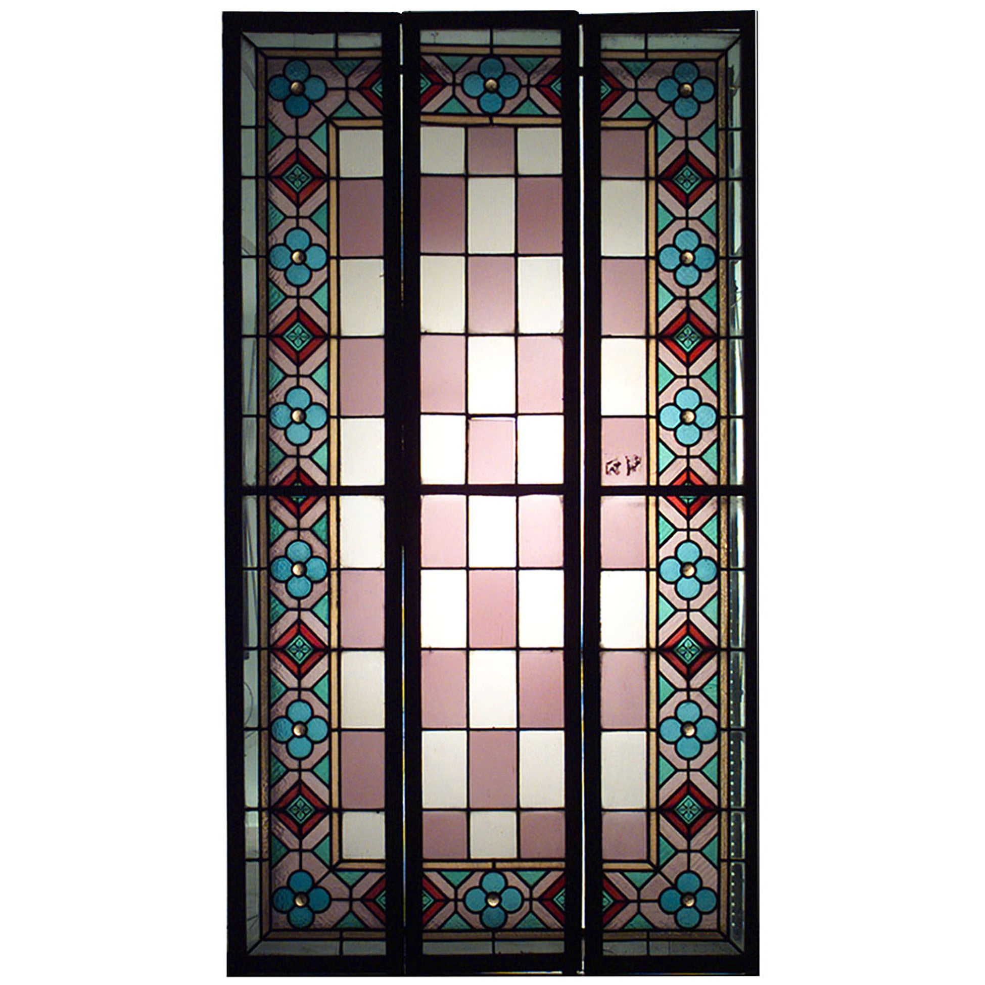 Set of 3 English Arts & Crafts Stained Glass Windows