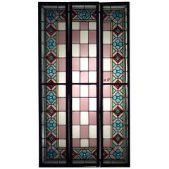 Set of 3 English Arts & Crafts Stained Glass Window Panels