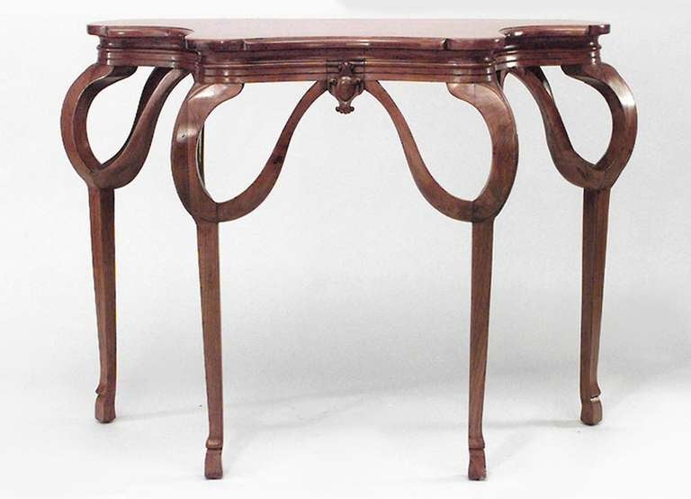 pair of art nouveau walnut console tables at 1stdibs. Black Bedroom Furniture Sets. Home Design Ideas