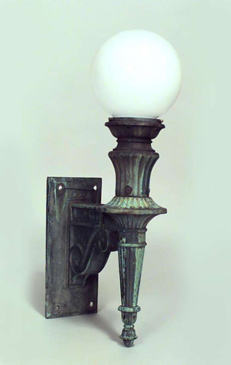 Wall Sconces That Look Like Torches : Pair of American Bronze and Glass Outdoor Torch Sconces at 1stdibs