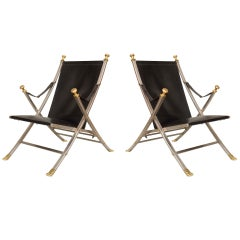 Pair of Maison Jansen Attributed Leather Campaign Chairs