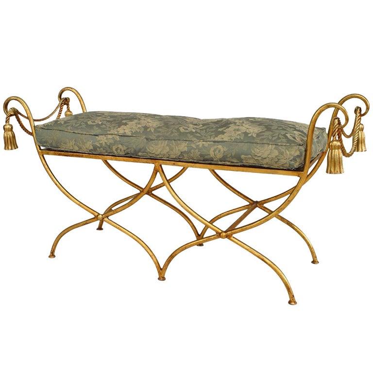 Art Moderne Rope and Tassel Design Gilt Metal Bench For Sale