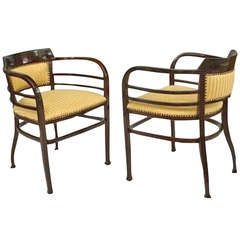 Upholstered Austrian Secessionist Armchairs by Thonet