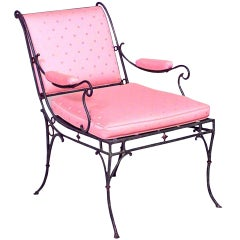 French Iron Sleigh Back Arm Chair