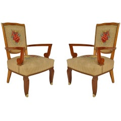 Pair of French Art Deco Aubusson Armchairs