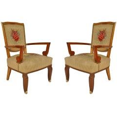 Pair of Jules Leleu Floral Decor Art Deco Armchairs